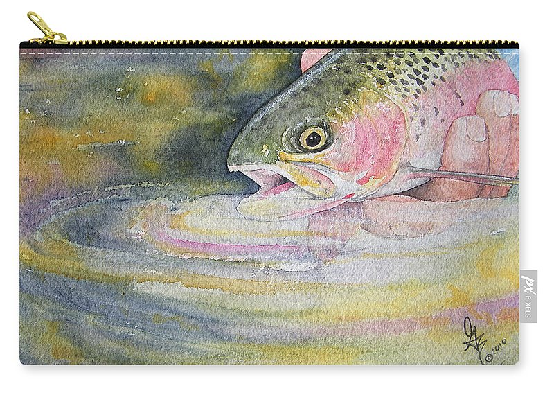 Trout Carry-all Pouch featuring the painting The Release by Gale Cochran-Smith
