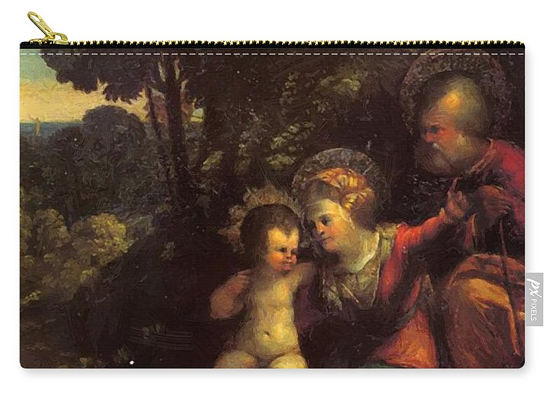 The Carry-all Pouch featuring the painting The Rest On The Flight Into Egypt by Dossi Dosso