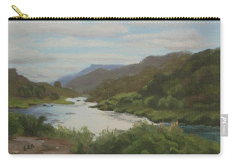 Landscape Carry-all Pouch featuring the painting The Rio Grande Between Taos And Santa Fe by Lea Novak