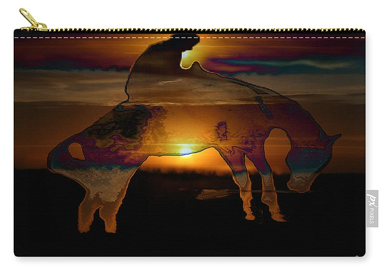 Cowboy Horse Bronc Rider Rodeo Sunrise Skyline Skyscape Sun Clouds Rider Carry-all Pouch featuring the photograph The Ripple Effect by Andrea Lawrence