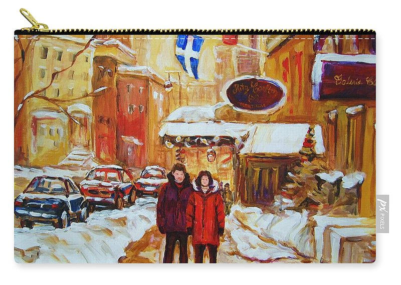 Streetscene Carry-all Pouch featuring the painting The Ritz Carlton by Carole Spandau