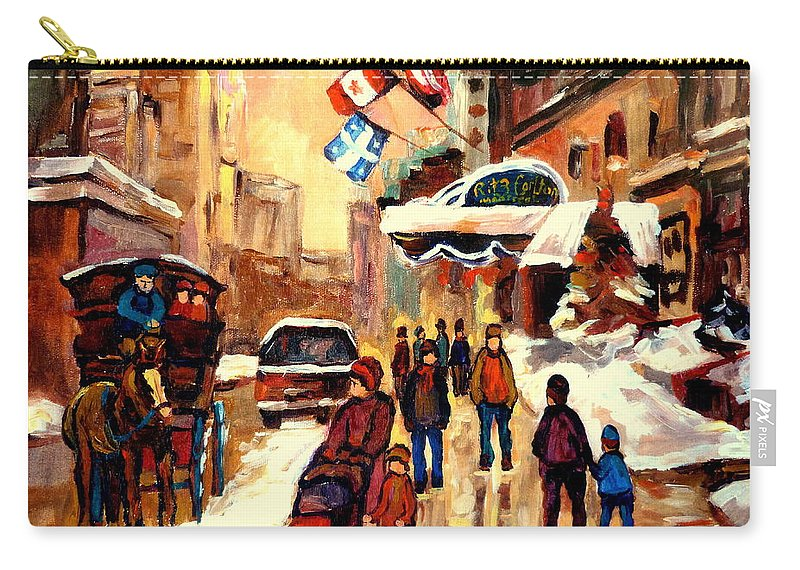 The Ritz Carlton Montreal Streetscenes Carry-all Pouch featuring the painting The Ritz Carlton Montreal Streetscene by Carole Spandau