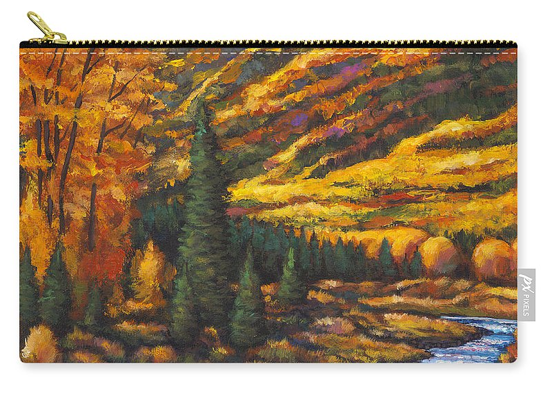 Landscape Carry-all Pouch featuring the painting The River Runs by Johnathan Harris