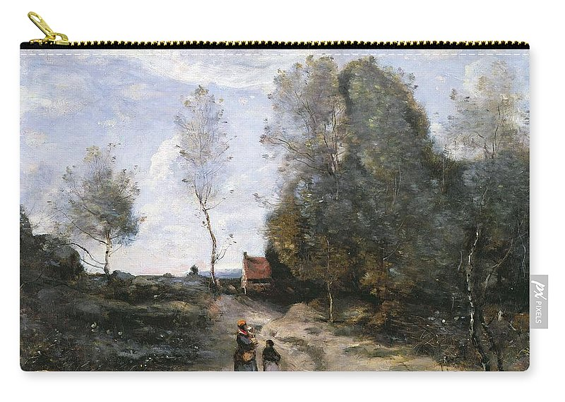 The Carry-all Pouch featuring the painting The Road by Jean Baptiste Camille Corot