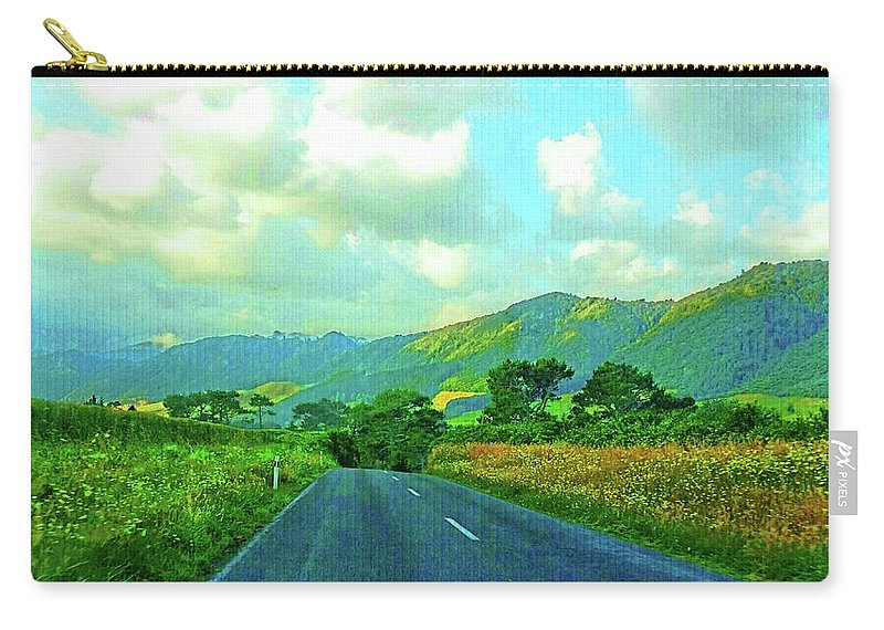 Kaimai Mountain Range Carry-all Pouch featuring the photograph The Road To Te Aroha by Kathy Kelly