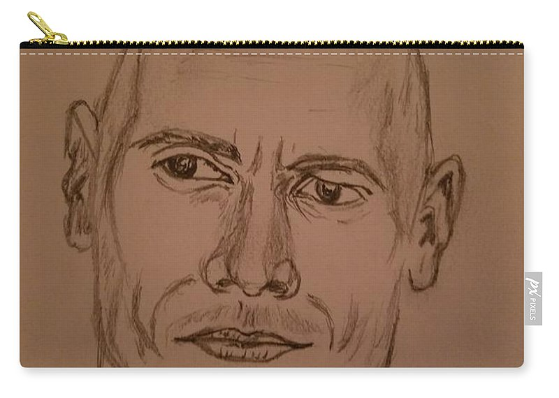The Rock Carry-all Pouch featuring the drawing The Rock by Richard Howell
