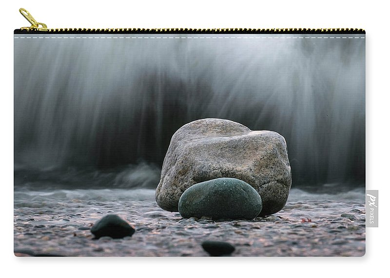 Scenic Carry-all Pouch featuring the photograph The Rocks At The End Of Hastie Road by Mary Lee Dereske