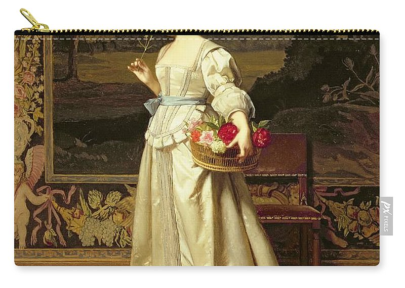 Interior; Female; White Dress; Roses; Tapestry; Victorian; Classical; Floorboards; Smelling Flower; Flowers; Satin Carry-all Pouch featuring the painting The Rose Basket by Florent Willems