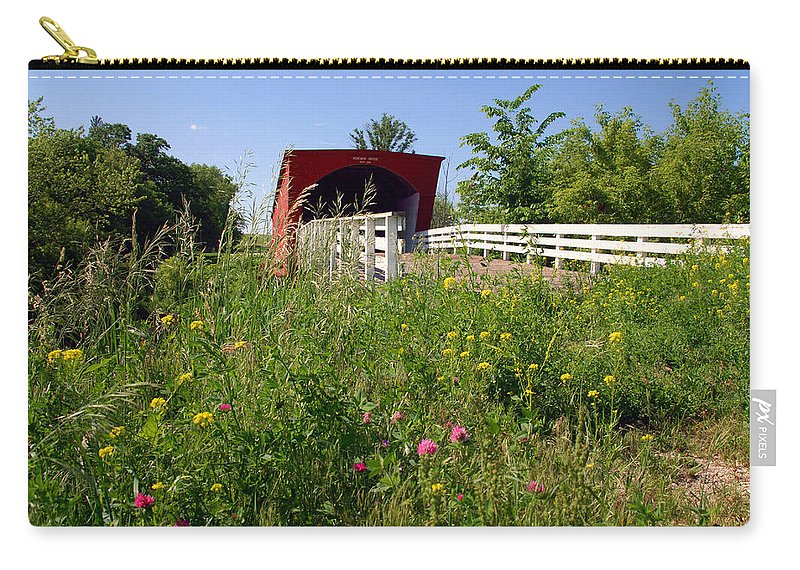 Photography Carry-all Pouch featuring the photograph The Roseman Bridge In Madison County Iowa by Susanne Van Hulst