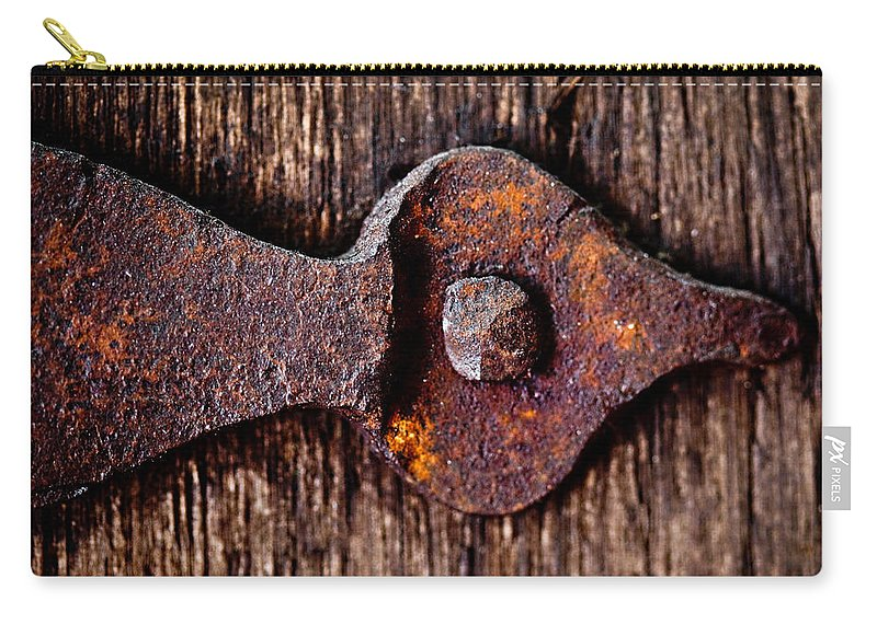 Door Carry-all Pouch featuring the photograph The Rusty Hinge by Lisa Russo
