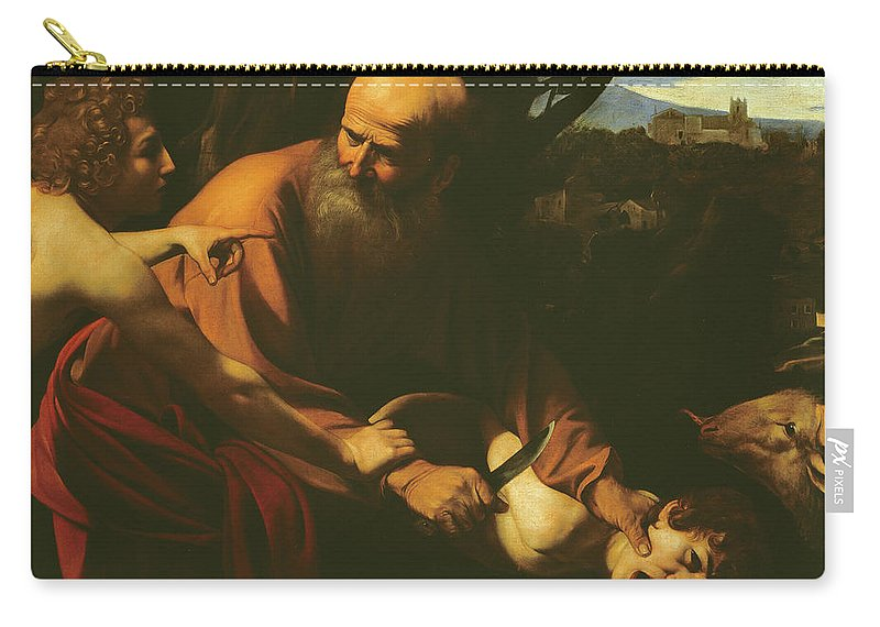 Caravaggio Carry-all Pouch featuring the painting The Sacrifice Of Isaac by Caravaggio