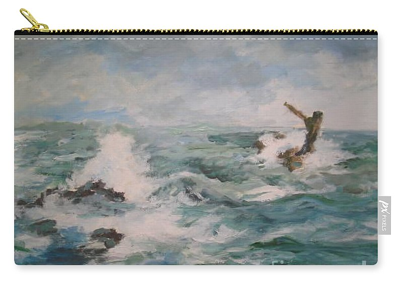 Realistic Carry-all Pouch featuring the painting The Sea by Rushan Ruzaick