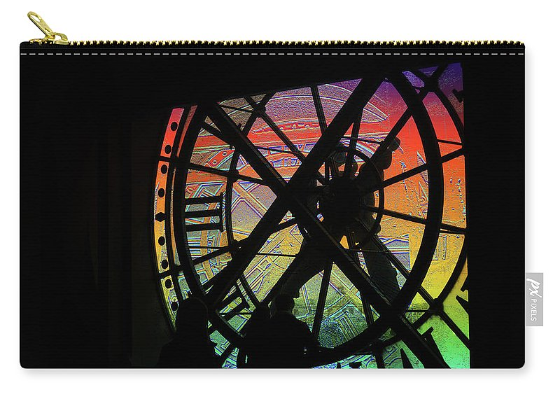 Clock Carry-all Pouch featuring the digital art The Secret Workings Of Time by Marc Dettloff