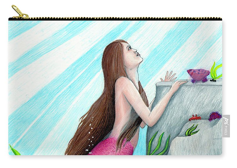 Mermaid Carry-all Pouch featuring the drawing The Seer by Alexandria Maynard