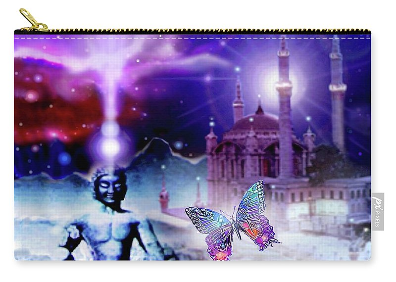 Buddha Carry-all Pouch featuring the mixed media The Serenity Of Wisdom... by Hartmut Jager