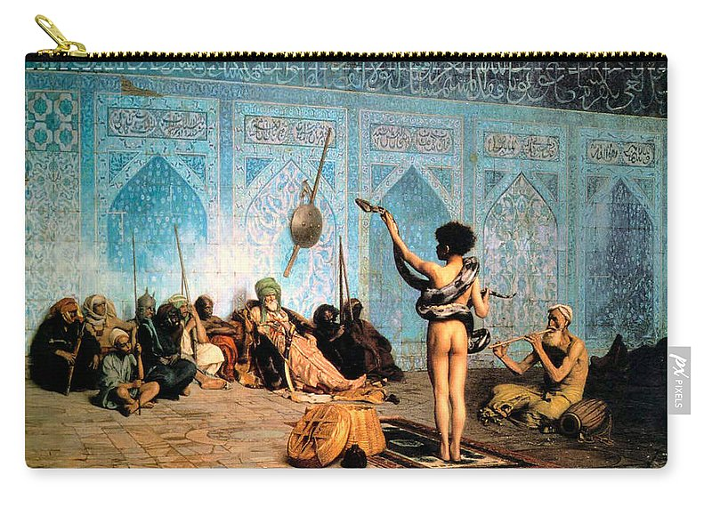 The Serpent Charmer Carry-all Pouch featuring the digital art The Serpent Charmer by Jean Leon Gerome