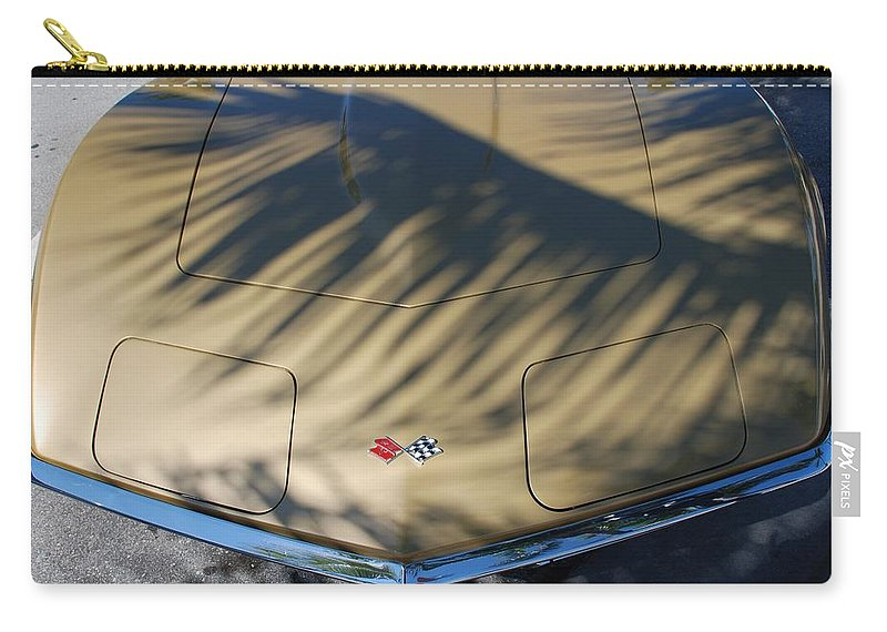 Corvette Carry-all Pouch featuring the photograph The Shadow Vette by Rob Hans