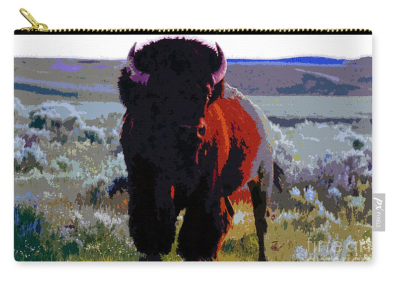 Shaman Carry-all Pouch featuring the painting The Shamans Buffalo by David Lee Thompson