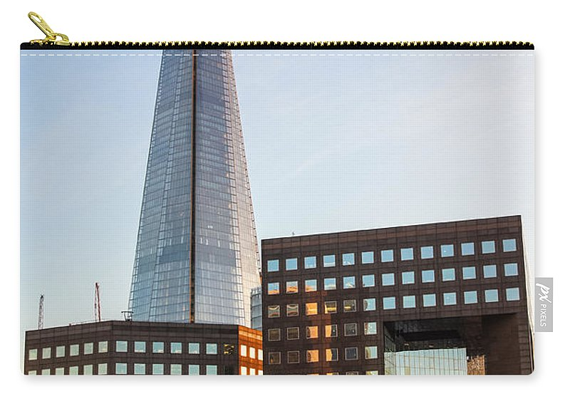 Britain British England English Uk Europe European Tower View Panoramic Cityscape Skyline Travel Traveling Tourism Riverbank Riverside Scenery Scene Architecture Office Building Facade Exterior Modern Structure Design Icon Iconic Famous Capital City Urban Landmark Landmarks Attraction Sightseeing London Shard Skyscraper South Bank Buildings Shape Carry-all Pouch featuring the photograph The Shard 1 by Marcin Rogozinski