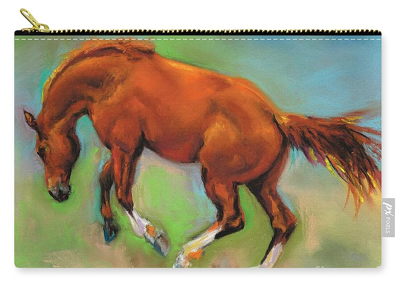 Horses Carry-all Pouch featuring the painting The Sheer Joy Of It by Frances Marino