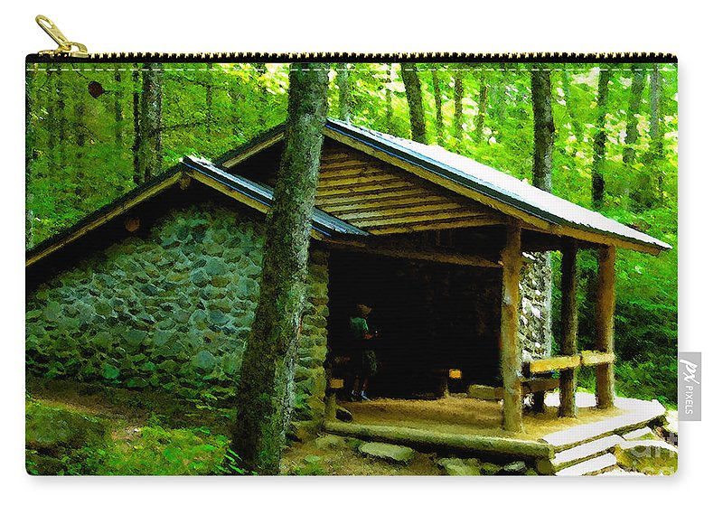 Appalachian Trail Shelter Carry-all Pouch featuring the painting The Shelter by David Lee Thompson