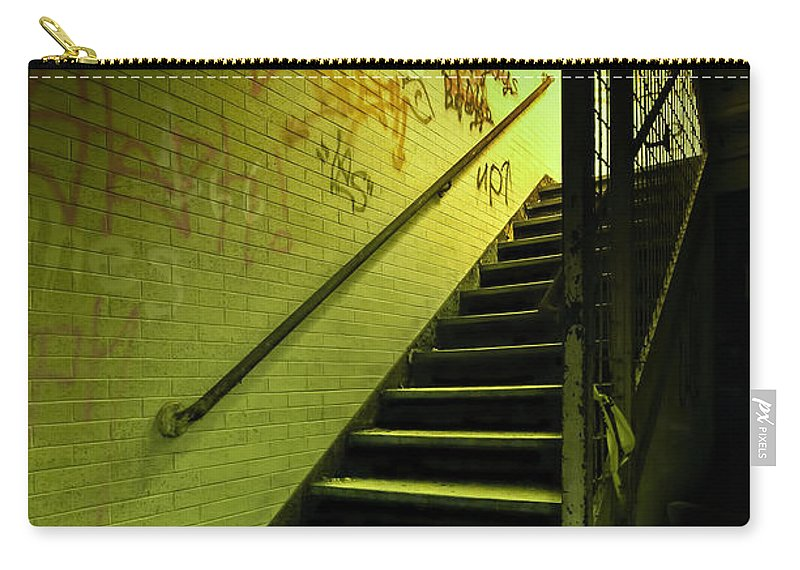 Stair Carry-all Pouch featuring the photograph The Shining Darkness by Evelina Kremsdorf