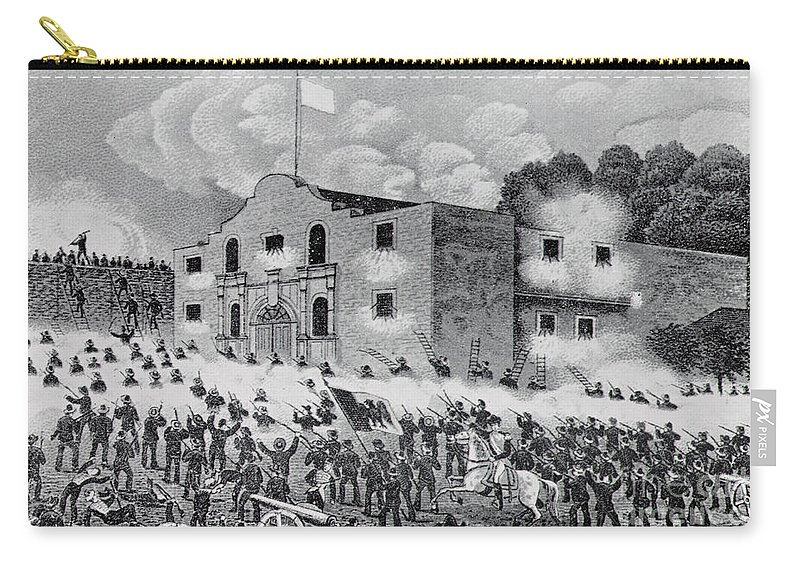 The Siege Of The Alamo Carry-all Pouch featuring the drawing The Siege Of The Alamo by American School