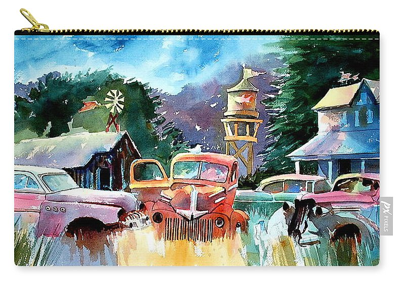 Landscape Watertower Carry-all Pouch featuring the painting The Sign Of The Fish On The Watertower by Ron Morrison