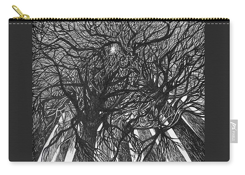 Pen And Ink Carry-all Pouch featuring the drawing The Skyscrapers Of The Forest by Anna Duyunova