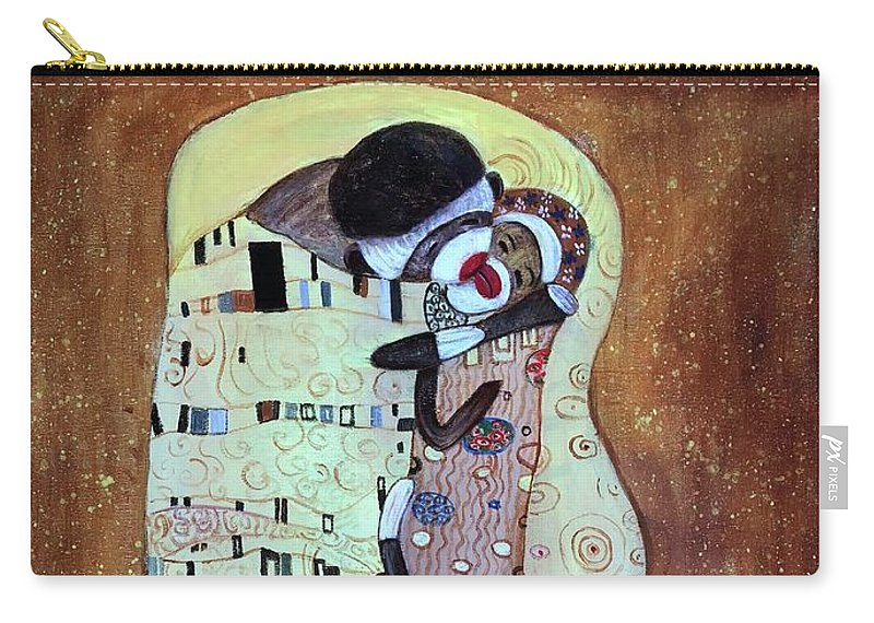 Kiss Carry-all Pouch featuring the painting The Smooch by Randy Burns
