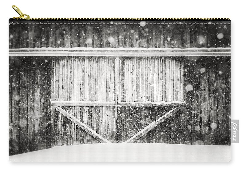 Erie Carry-all Pouch featuring the photograph The Snowy Barn II by Lisa Russo