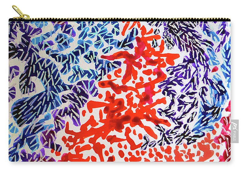 Carry-all Pouch featuring the painting The Sound Of Fireworks by Polly Castor