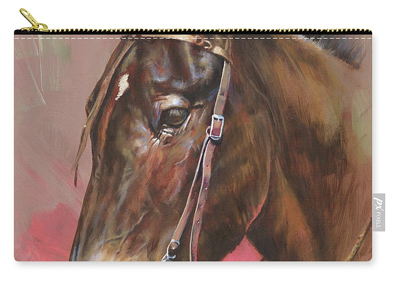 Mules Carry-all Pouch featuring the painting The Spanish Mule by Mia DeLode