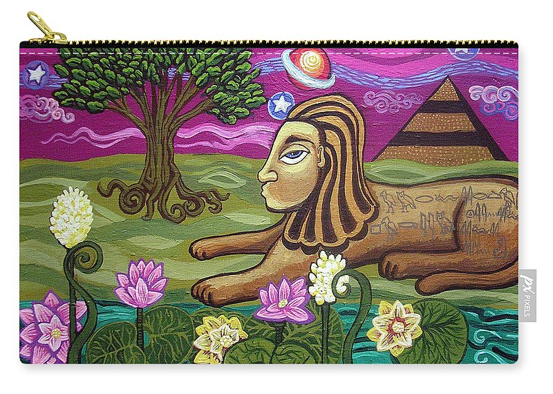 Egypt Carry-all Pouch featuring the painting The Sphinx by Genevieve Esson