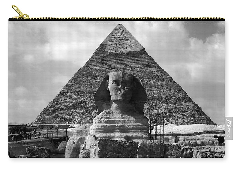 Pyramid Carry-all Pouch featuring the photograph The Sphynx And The Pyramid by Donna Corless