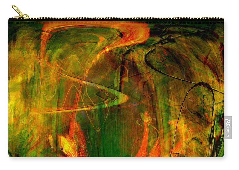 Abstract Digital Abstract Digital Painting Digital Art Design Dark Art Vibrant Art Yellow Carry-all Pouch featuring the digital art The Spirit Glows by Linda Sannuti
