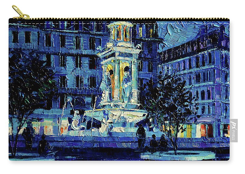 The Square Of Jacobins Illuminated Carry-all Pouch featuring the painting The Square Of Jacobins Illuminated - Lyon France - Modern Impressionist Palette Knife Painting by Mona Edulesco