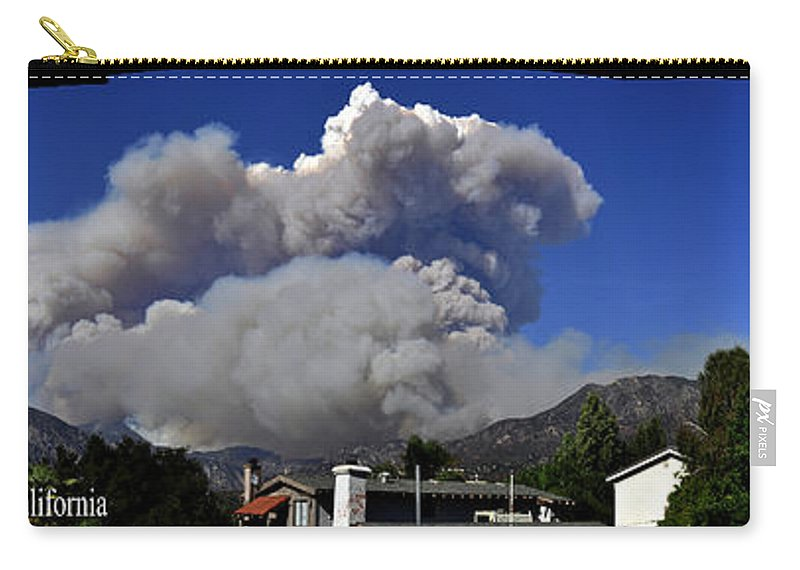 Clay Carry-all Pouch featuring the photograph The Station Fire Panoramic by Clayton Bruster