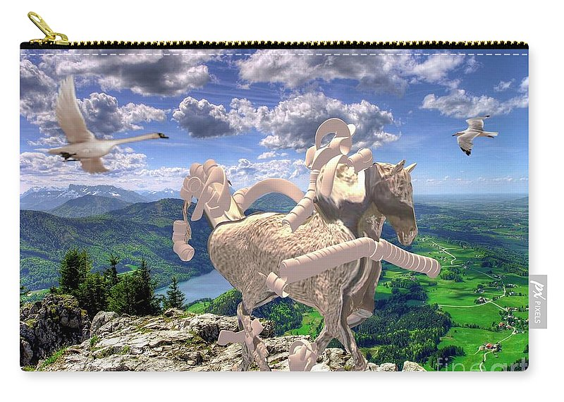 Modern Painting Carry-all Pouch featuring the mixed media The Statue Of The Rock by Pemaro