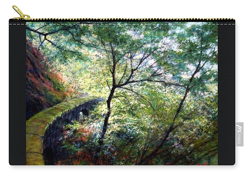 Pastel Carry-all Pouch featuring the painting The Stone Wall by Jim Gola