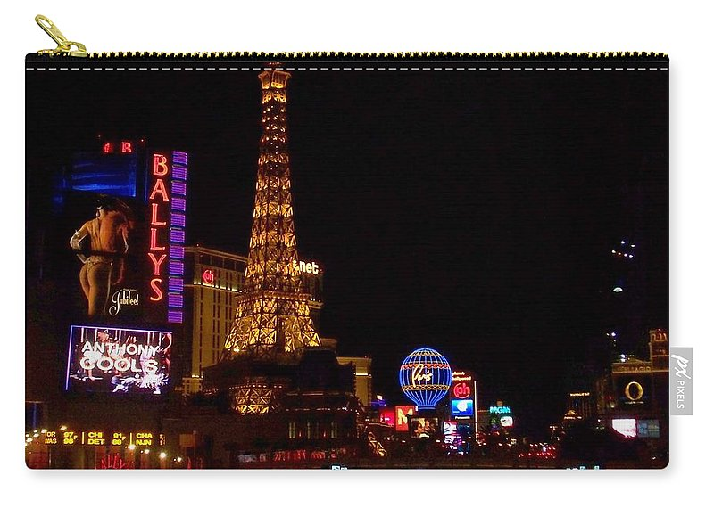 Vegas Carry-all Pouch featuring the photograph The Strip At Night 1 by Anita Burgermeister