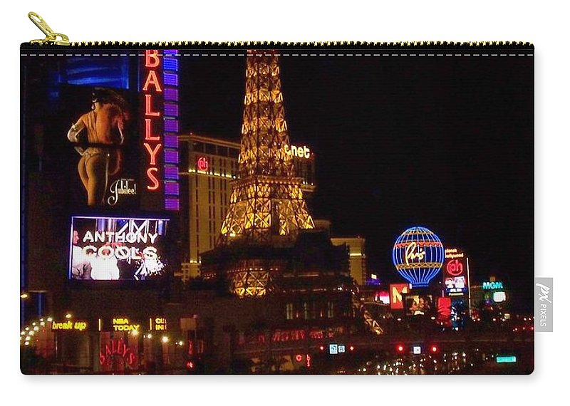 Vegas Carry-all Pouch featuring the photograph The Strip at Night 2 by Anita Burgermeister