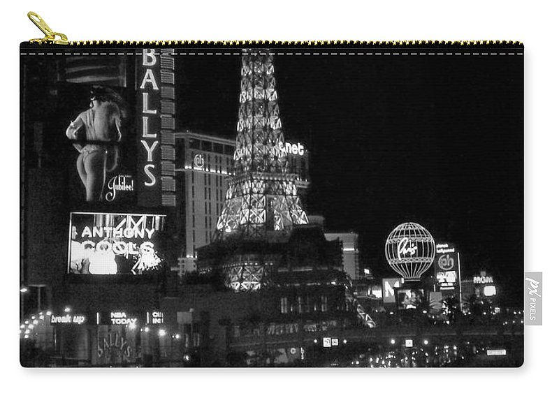 Las Vegas Strip Carry-all Pouch featuring the photograph The Strip By Night B-w by Anita Burgermeister