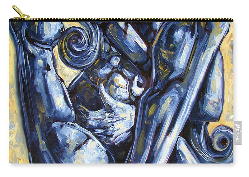 Nude Carry-all Pouch featuring the painting The Struggle by Darwin Leon