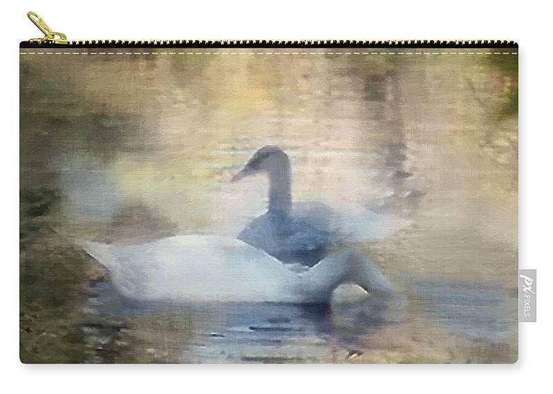 Pond Carry-all Pouch featuring the painting The Swans by RC DeWinter