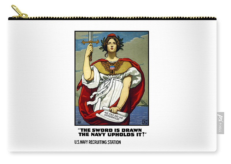 Navy Carry-all Pouch featuring the painting The Sword Is Drawn - The Navy Upholds It by War Is Hell Store
