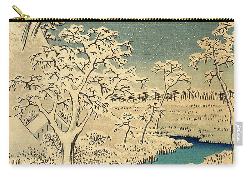 Hiroshige Carry-all Pouch featuring the painting The Taiko Bridge And The Yuhi Mound At Meguro, From The Hundred Famous Views Of Edo by Hiroshige