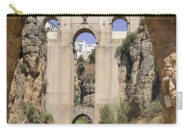 Ronda Carry-all Pouch featuring the photograph The Tajo De Ronda And Puente Nuevo Bridge Andalucia Spain Europe by Mal Bray