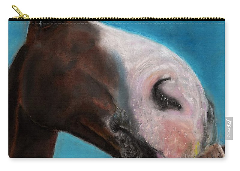Abstract Horses Carry-all Pouch featuring the painting The Tasty Post by Frances Marino