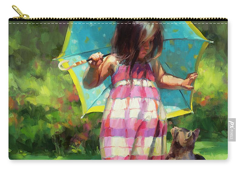 Child Carry-all Pouch featuring the painting The Teal Umbrella by Steve Henderson